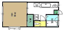 仙台市地下鉄東西線 八木山動物公園駅 徒歩10分の賃貸アパート 1階1Kの間取り