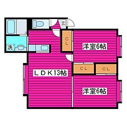 札幌市営東豊線 新道東駅 バス19分 モエレ団地下車 徒歩1分の賃貸アパート 3階2LDKの間取り