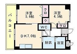 福岡県福岡市博多区奈良屋町の賃貸マンションの間取り