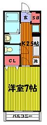 埼玉県草加市神明2丁目の賃貸マンションの間取り