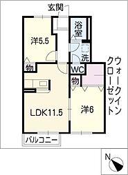 ハピネスKIRARA A棟[1階]の間取り