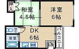 シャトル南桜塚[203号室]の間取り