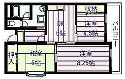 ユーネスト浅野[3階]の間取り