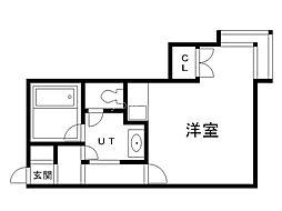 コットンハウス14 1階ワンルームの間取り