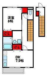 福岡県遠賀郡水巻町頃末北4丁目の賃貸アパートの間取り