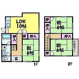 [一戸建] 愛媛県松山市三町3丁目 の賃貸【愛媛県 / 松山市】の間取り