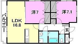愛媛県松山市北井門2丁目の賃貸マンションの間取り