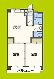 第3マンション北 3階2DKの間取り