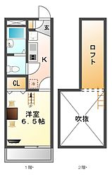 レオパレスMEIKOU[3階]の間取り