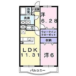 アヴェニ−ル・K 参番館[204号室]の間取り