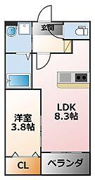 Luca春風 3階1LDKの間取り