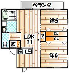 福岡県遠賀郡水巻町吉田西2丁目の賃貸アパートの間取り