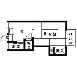 大橋コーポ[102号室]の間取り