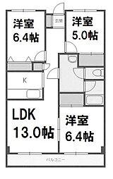 北海道札幌市西区西野一条3丁目の賃貸マンションの間取り
