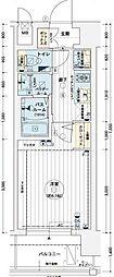 エステムコート難波WEST-SIDEVIIグローブ 6階1Kの間取り