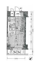 都営大江戸線 築地市場駅 徒歩5分の賃貸マンション 4階1Kの間取り