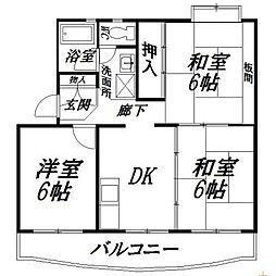静岡県浜松市中区上島5丁目の賃貸マンションの間取り