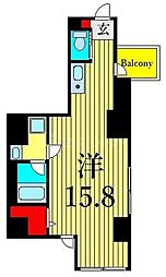 JR山手線 上野駅 徒歩8分の賃貸マンション 6階ワンルームの間取り
