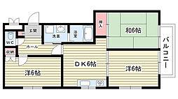 大阪府豊中市千里園の賃貸アパートの間取り