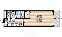 フラッティ龍大前 3階1Kの間取り