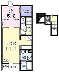 神奈川県厚木市上荻野の賃貸アパートの間取り