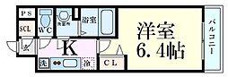 阪急京都本線 淡路駅 徒歩2分の賃貸マンション 8階1Kの間取り