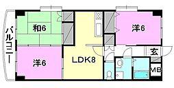 リバ−サイドハイツ砥部[407 号室号室]の間取り