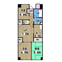 東京都立川市幸町2丁目の賃貸マンションの間取り