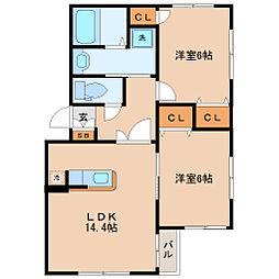 仙台市営南北線 北四番丁駅 徒歩12分の賃貸マンション 3階2LDKの間取り