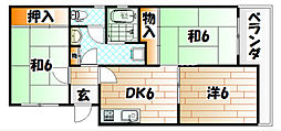 福岡県北九州市戸畑区中原西3丁目の賃貸マンションの間取り
