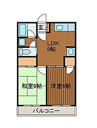 ユーワハイツA[2階]の間取り