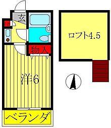 千葉県松戸市新松戸北1の賃貸アパートの間取り