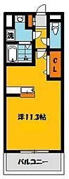 栃木県宇都宮市雀の宮6丁目の賃貸マンションの間取り