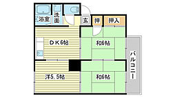 兵庫県姫路市網干区津市場の賃貸アパートの間取り
