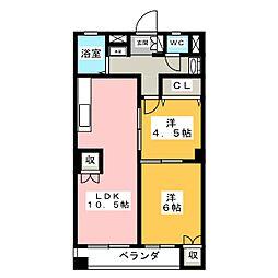 愛知県名古屋市千種区四谷通3丁目の賃貸マンションの間取り