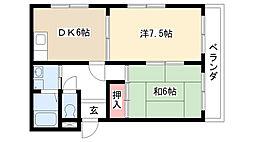 愛知県名古屋市名東区極楽4の賃貸マンションの間取り