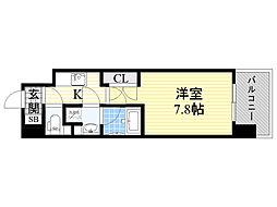 プール・トゥジュール梅田ウエスト 2階1Kの間取り