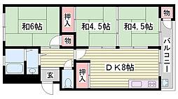 山陽電鉄本線 西新町駅 徒歩32分の賃貸マンション 3階3DKの間取り
