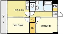 ニューシティーアパートメンツ 南小倉I[10階]の間取り