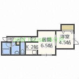 札幌市営南北線 麻生駅 バス14分 中央バス新琴似6条13丁目下車 徒歩37分の賃貸アパート 2階1LDKの間取り
