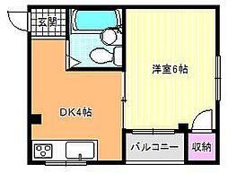 大阪府大阪市東住吉区照ケ丘矢田2丁目の賃貸マンションの間取り