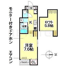 愛知県名古屋市南区内田橋2の賃貸アパートの間取り
