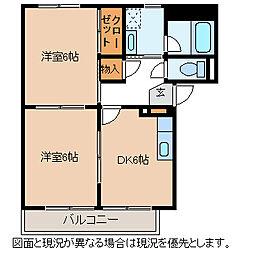長野県諏訪市大字豊田の賃貸アパートの間取り
