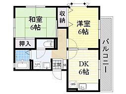 Osaka Metro御堂筋線 なかもず駅 徒歩8分の賃貸アパート 1階2DKの間取り