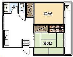 押川コーポ[401号室]の間取り