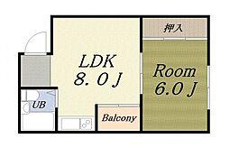 松木マンション[5階]の間取り