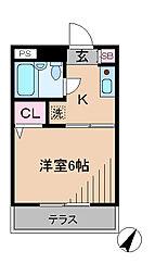 神奈川県横浜市港北区日吉4丁目の賃貸アパートの間取り