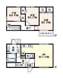 兵庫県神戸市垂水区向陽3丁目の賃貸アパートの間取り