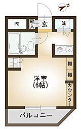 シンフォニー小手指 シングル向け設備充実のマンション[306号室]の間取り