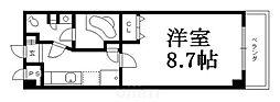 京阪本線 七条駅 徒歩12分の賃貸マンション 3階1Kの間取り